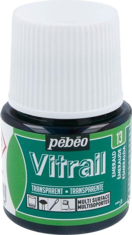 Pebeo Краска для стекла и металла Vitrail лаковая прозрачная цвет 050-013 изумрудный 45 мл