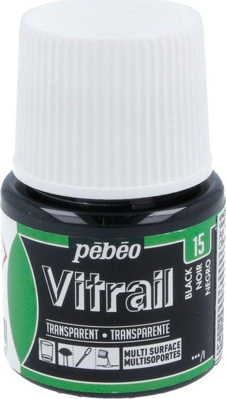 Pebeo Краска для стекла и металла Vitrail лаковая прозрачная цвет 050-015 черный 45 мл