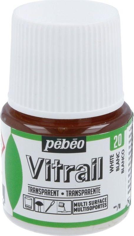 Pebeo Краска для стекла и металла Vitrail лаковая прозрачная цвет 050-020 белый 45 мл