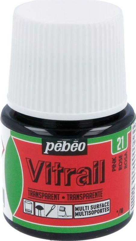 Pebeo Краска для стекла и металла Vitrail лаковая прозрачная цвет 050-021 розовый 45 мл