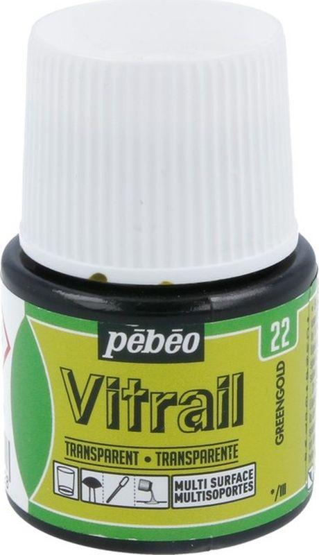 Pebeo Краска для стекла и металла Vitrail лаковая прозрачная цвет 050-022 золотисто-зеленый 45 мл