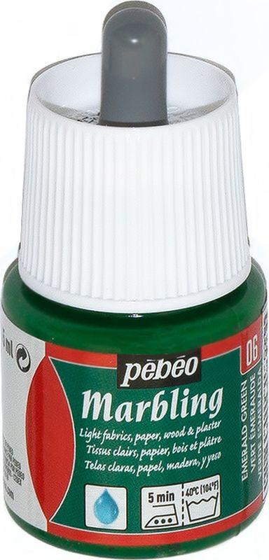 Pebeo Краска Marbling для техники Эбру цвет 130-006 изумрудный зеленый 45 мл