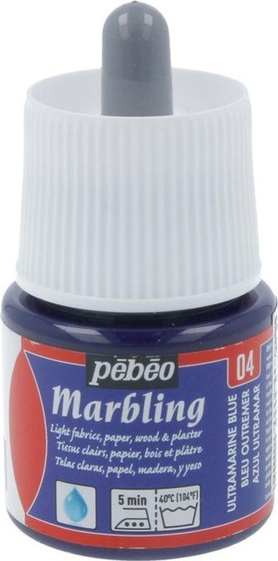 Pebeo Краска Marbling для техники Эбру цвет 130-004 синий ультрамарин 45 мл