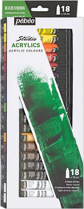 Pebeo Краска акриловая набор Studio Acrylics 18 цветов 668210 12 мл668210Состав: 18 цветов по 12 мл Густая консистенция Цвета живые и глубокие, богато пигментированные, имеют сатиновый блеск и очень хорошую светостойкость Краска обладает прекрасной адгезией, не смывается после высыхания Наносится на холст, картон, дерево, металл и другие поверхности Сохнет от 30мин до 1час, полное высыхание 1-8 дней в зависимости от толщины слоя Очистка инструментов: вода