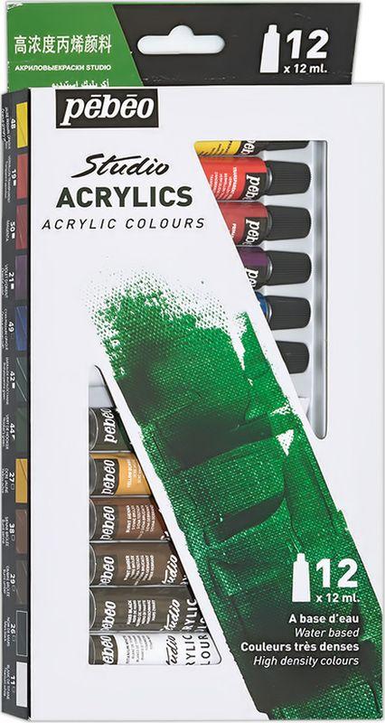 Pebeo Краска акриловая набор Studio Acrylics 12 цветов 668200 12 мл