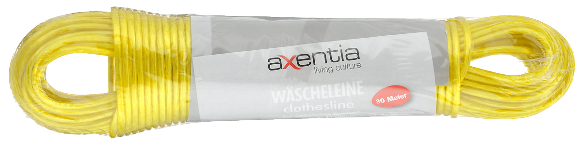 Веревка бельевая Axentia, цвет: желтый, длина 30 м веревка бельевая axentia цвет красный длина 30 м