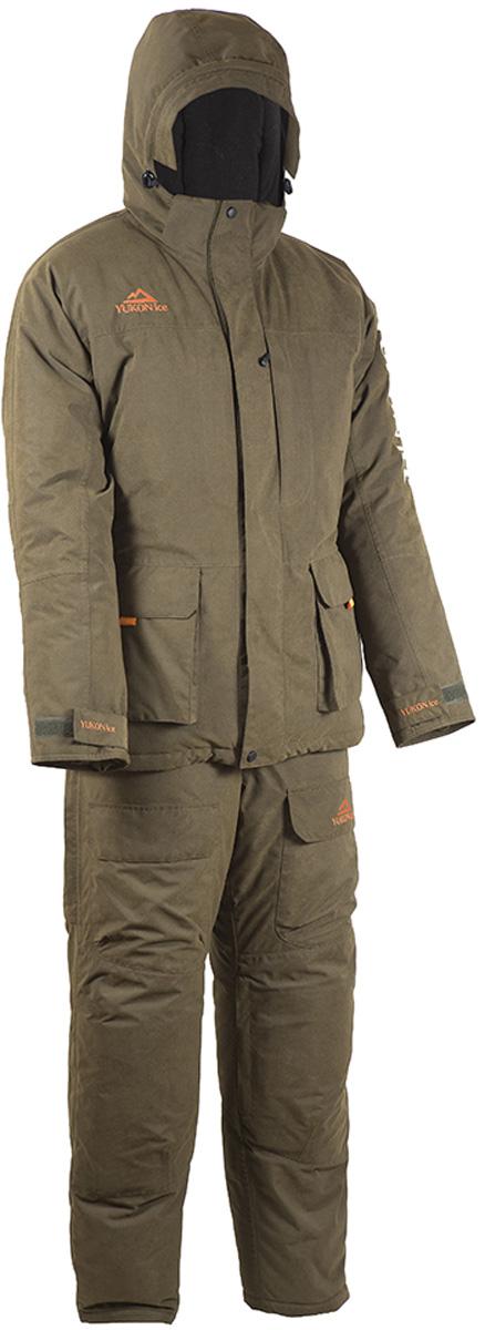 Костюм утепленный HUNTSMANyf_102-521Зимний рыболовный костюм Yukon Ice от Huntsman изготовлен из современного материала с повышенными влагозащитными и паропроницаемыми свойствами FINLYANDIA. Костюм состоит из куртки и полукомбинезона.Материал - Finlyandia - мембрана (10000 мм вд. ст./10000 гр/м2/24 час); подкладка (спинка и полочки) - Polar Fleece (180 гр/м2); утеплитель Radotex: куртка 450 гр/м2, полукомбинезон 300 гр/м2. Куртка с регулируемым по объёму капюшоном застегивается на двухзамковую молнию под двойной ветрозащитной планкой. Изделие имеет два вместительных накладных кармана с внутренней отделкой из флиса, два нагрудных кармана и внутренний карман на молниях. По нижнему краю и поясу куртки предусмотрены утяжки со стопперами. Рукава дополнены регулируемыми манжетами. Полукомбинезон с регулируемыми лямками спереди оснащен застежкой на двухзамковую молнию под ветрозащитной планкой и дополнен двумя объемными накладными карманами. Накладки в области колен и седалища со съемными водонепроницаемыми вставками. Внутренние снегозащитные гетры. Регулировка ширины низа брючин осуществляется с помощью застежки-молнии и клапана на липучке.