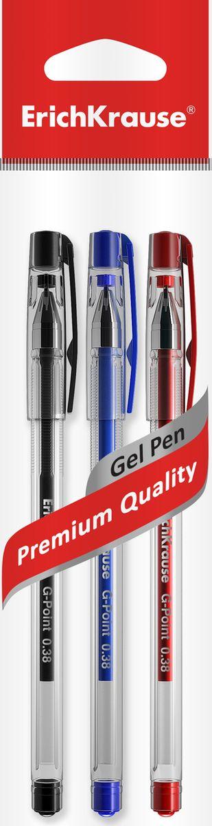 Ручка гелевая ErichKrause G-Point, цвет чернил: синий, черный, красный, 3 шт ручка гелевая erichkrause g soft цвет чернил синий черный красный 3 шт