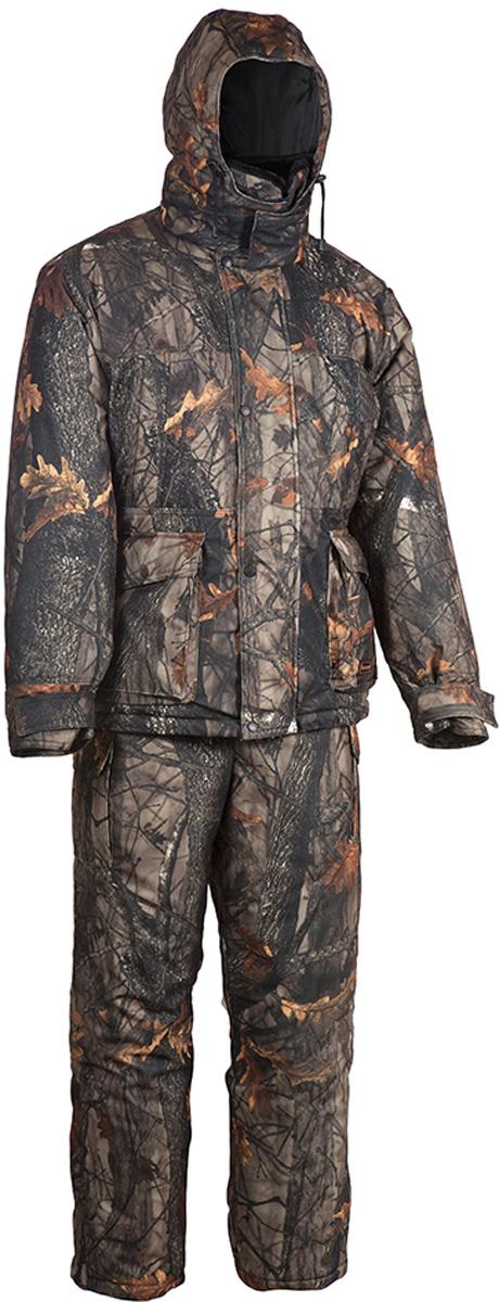 Костюм утепленный HUNTSMANpr_200-702Зимний костюм Памир от Huntsman создан для рыбалки, охоты и активного отдыха на природе. Костюм состоит из куртки и полукомбинезона. Ткань костюма не продуваемая, непромокаемая, не теряет своих свойств при низких температурах (до -45°С). Материал не шуршит.Куртка с регулируемым капюшоном, внутри утепленным флисом, так же как и воротник-стойка, застегивается на молнию и кнопки. Воротник из искусственного меха можно отстегнуть. Надежная двухзамковая застежка-молния расположена под ветрозащитной планкой. Куртка имеет два нагрудных кармана на молниях и два накладных кармана: вход сверху под клапаном, застегивается на кнопки; вход сбоку на молнии. Также имеются два внутренних кармана, один из которых на липучке, другой - на молнии. Внутренние трикотажные манжеты регулируются контактной лентой. Предусмотрена внутренняя кулиска на талии.Куртка на утеплителе Radotex- 450 гр/кв.м.Полукомбинезон на регулируемых лямках застегивается на двухзамковую застежку-молнию. Спинка утеплена флисом, боковые эластичные вставки регулируются молнией. На брючинах расположены боковые карманы. Предусмотрена регулировка ширины низа брюк. Утеплитель полукомбинезона Radotex - 300 гр/кв.м.