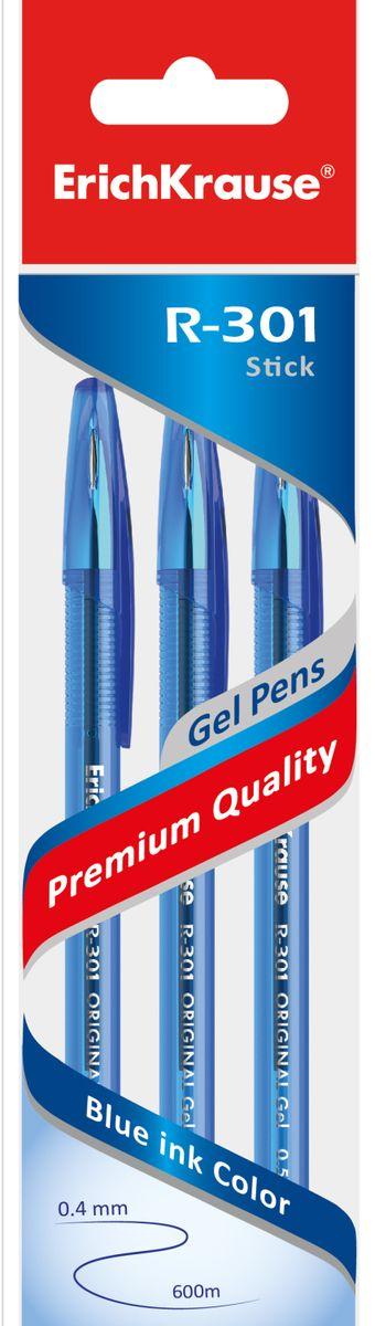 Фото - Ручка гелевая ErichKrause R-301 Original Gel 0.5, цвет чернил синий, 3 шт luxor набор гелевых ручек tru gel цвет синий 3 шт