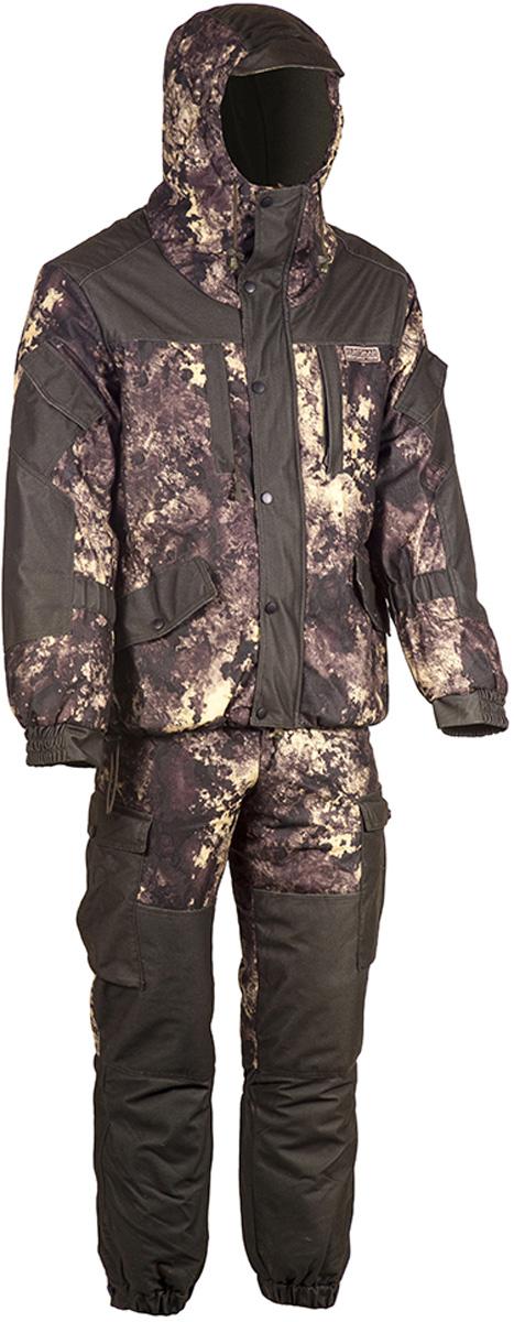 Костюм утепленный HUNTSMANan_100-17Костюм зимний Ангара от Huntsman состоит из куртки и полукомбинезона. Изделия выполнены из плотного непромокаемого материала Алова-мембрана с утеплителем Radotex (куртка 200 гр/м2, брюки 150 гр/м2) и флисовой подкладкой в области спинки и полочек.Куртка свободного кроя с капюшоном на утяжках и козырьком. Застегивается на двухзамковую молнию и ветрозащитную планку на кнопках. Предусмотрена резинка в области талии. Куртка имеет 7 функциональных карманов. Полукомбинезон на подтяжках с поясом на резинке, дополненным шлевками под ремень. Предусмотрено 6 карманов. Дополнительно полукомбинезон оснащен снегозащитными гетрами. Для размера 52/54, рост 182: длина брюк по внутреннему шву - 750, обхват талии минимальный - 76 см, длина рукава - 63 см.