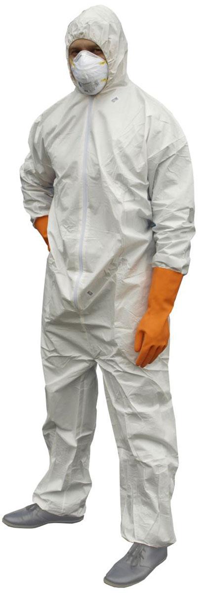 Комбинезон защитный Антей, с капюшоном, цвет: белый. 54449. Размер XL (52-54)