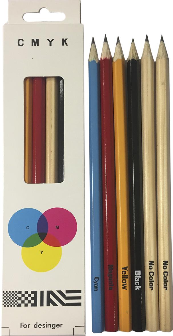 Сибирская карандашная фабрика Набор чернографитных карандашей Сибирский Кедр C.M.Y.K. 6 шт скф набор чернографитных карандашей сибирский кедр 6 шт