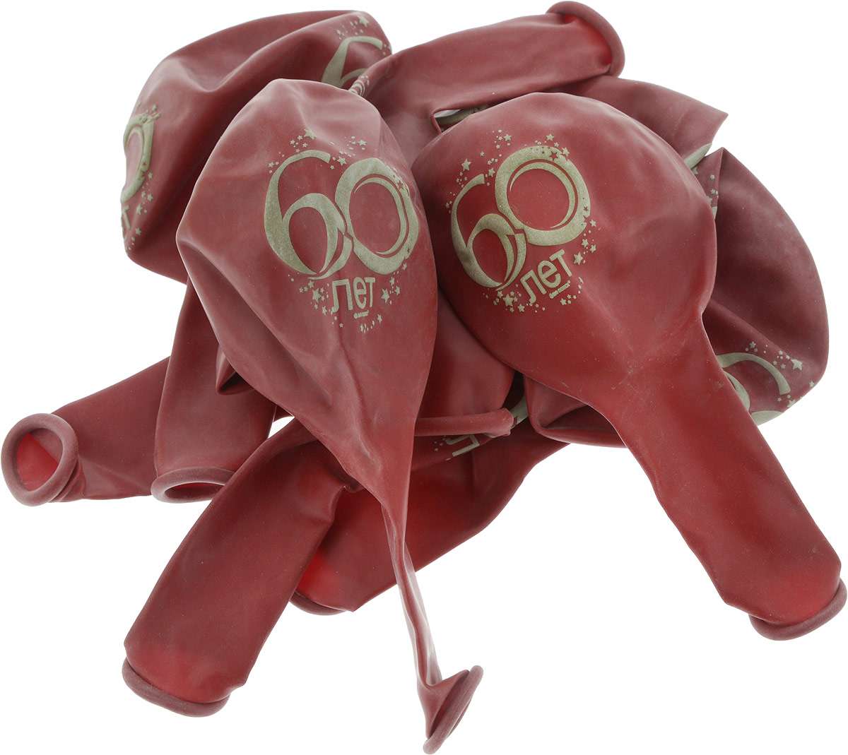 Latex Occidental Набор воздушных шариков Юбилей цифра 60 10 шт latex occidental набор воздушных шариков металлик и перламутр 50 шт