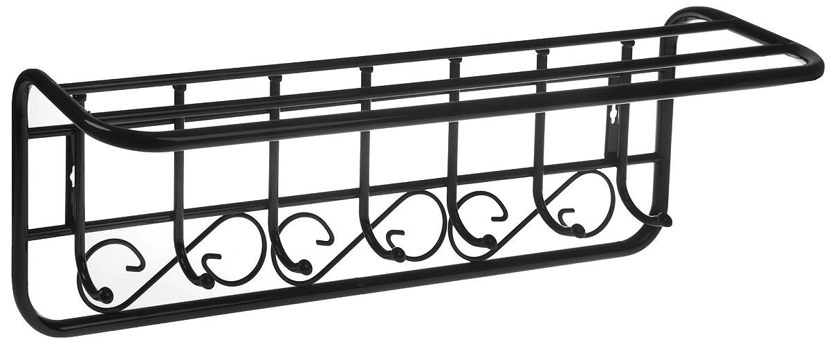 Вешалка настенная ЗМИ Узор Квадраты, с полкой, 7 крючков, черный, 72,5 х 22 х 26,5 см цена