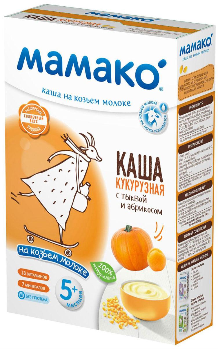 Мамако каша кукурузная с тыквой и абрикосом на козьем молоке, 200 гУТ-00000010Кукурузная каша Мамако с тыквой и абрикосом для детей старше 5 месяцев - уникальная рецептура для хорошего аппетита и здорового пищеварения. Содержит: - 100% натуральные ингредиенты - Комплекс витаминов и минералов - 32% козьего молока Особенности: - Не содержит коровьего молока - Без крахмала - Без растительных масел - Без консервантов, красителей и ароматизаторов - Без ГМО Полезные свойства: - Фосфолипиды кукурузы оказывают защитное и противовоспалительное действие на нежную пищеварительную систему малыша. - Высокое содержание клетчатки в натуральной тыкве и абрикосе в сочетании с козьим молоком улучшает микрофлору и работу кишечника. - Природные источники ?-каротина (кукуруза, тыква и абрикос) полезны для зрения, укрепляют иммунитет и придают каше солнечный цвет и яркий вкус. - Все каши Мамако обогащены 13 витаминами и 7 минералами, включая комплекс Ca-Fe-I для профилактики рахита, железодефицитной анемии и йододефицита, встречающихся у 30—60 % детей раннего возраста (по данным Союза педиатров России). - В каждой каше Мамако содержится 32 % козьего молока, которое за счет своих структурных свойств увеличивает биодоступность кальция и железа на 20%. Рекомендуем!