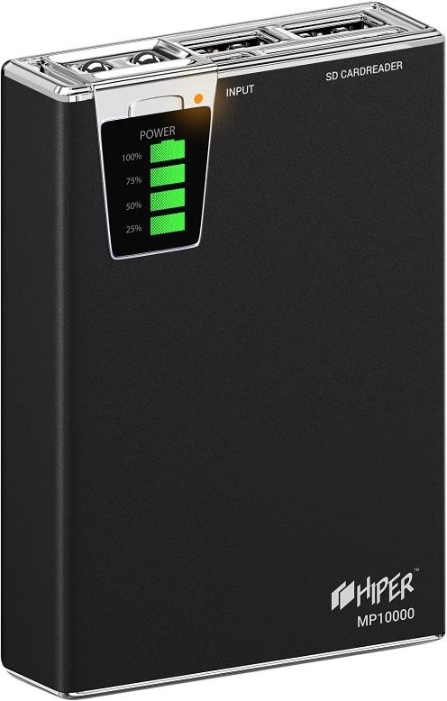 Фото - Внешний аккумулятор Hiper Power Bank MP10000, Black (10000 мАч) внешний аккумулятор power bank 10000 мач hiper mpx10000 серебристый