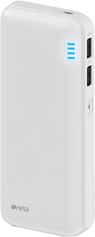 Внешний аккумулятор HIPER Power Bank SP12500, White (12500 мАч) аккумулятор hoco b32 energetic wireless power bank white