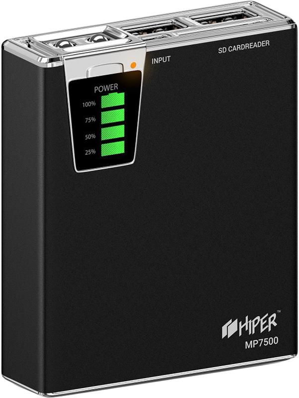 Фото - Hiper MP7500, Black внешний аккумулятор (7500 мАч) аккумулятор