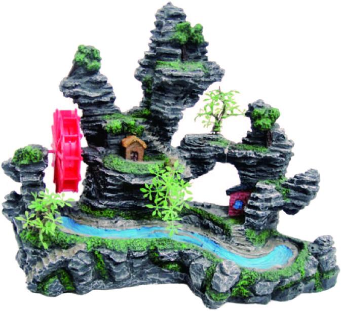 Грот Meijing Aquarium Скала с водяной мельницей и хижинами. YM-533