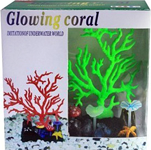 Светящийся коралл Meijing Aquarium Светящийся коралл, цвет: зеленый. AM0015G светящийся декор грибы прозрачные желтые 12 9 9 sh006 y