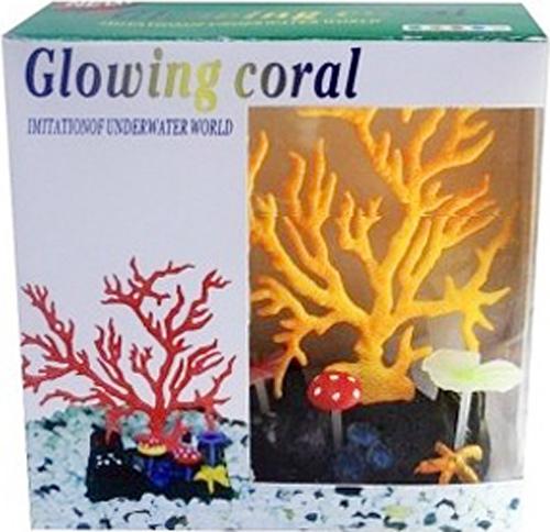 Светящийся коралл Meijing Aquarium Светящийся коралл, цвет: оранжевый. AM0015O светящийся декор грибы прозрачные желтые 12 9 9 sh006 y