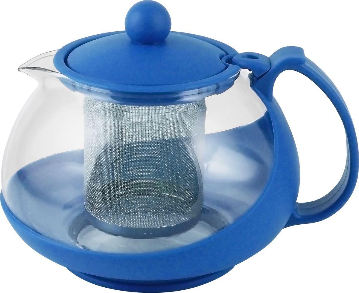 Чайник заварочный Irit, цвет: синий, 0,75 л чайник заварочный irit amp 100 2200 вт белый 1 7 л пластик