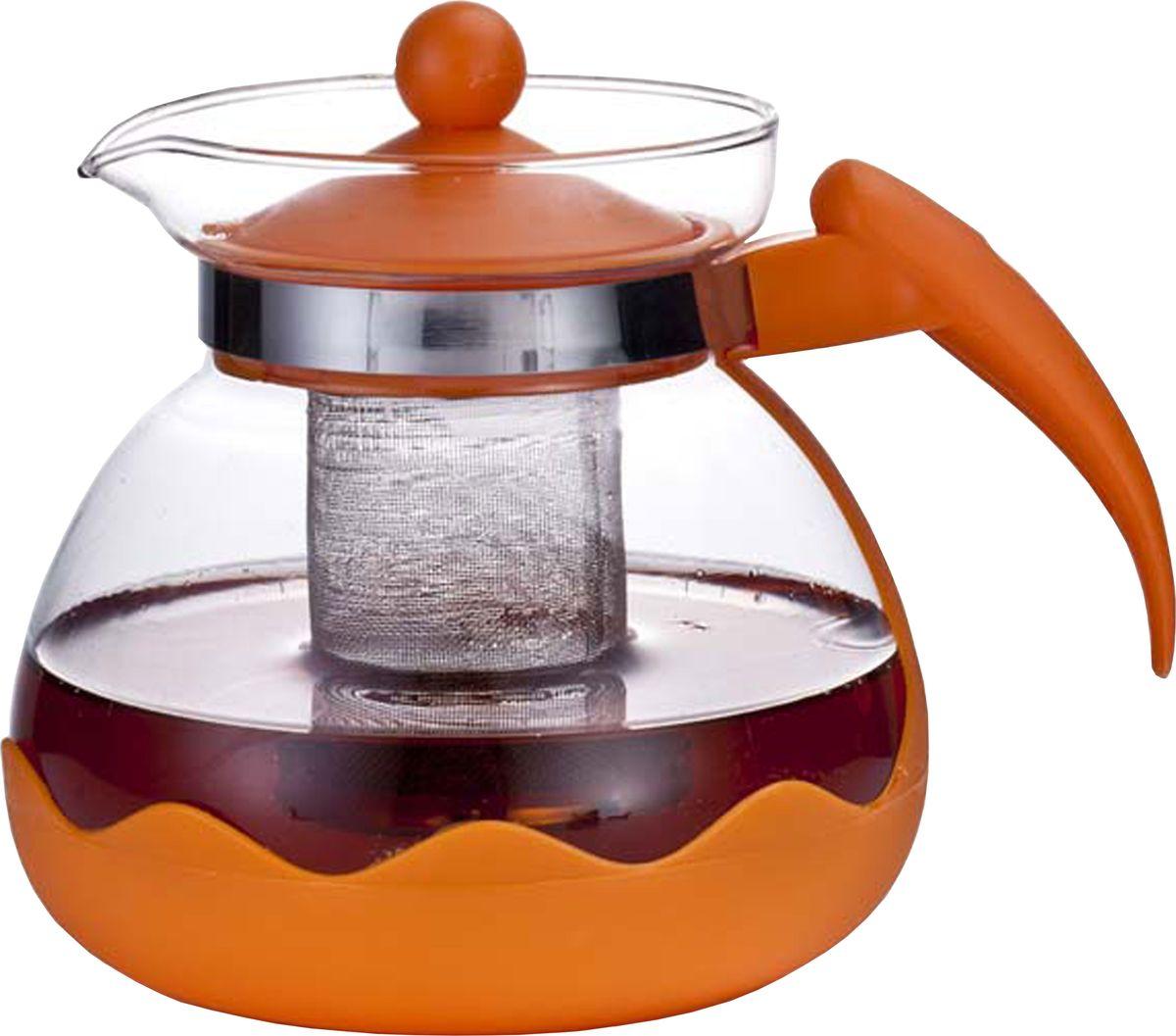 Чайник заварочный Irit, цвет: оранжевый, 1,5 л чайник заварочный irit amp 100 2200 вт белый 1 7 л пластик