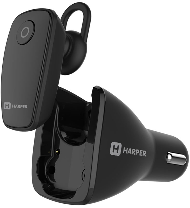 Harper HBT-1723, Black Bluetooth-гарнитура + автомобильное зарядное устройство