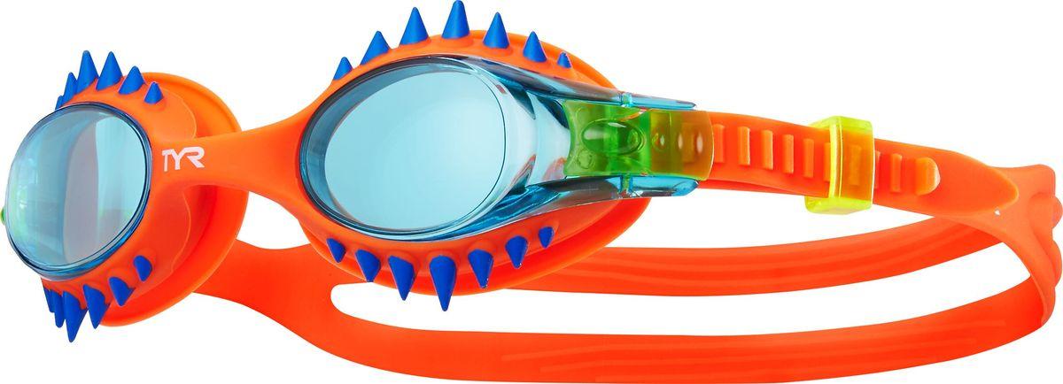 Очки для плавания Tyr Swimple Spikes, цвет: голубой, оранжевый. LGSWSPK очки для плавания tyr tyr ty003duxis90
