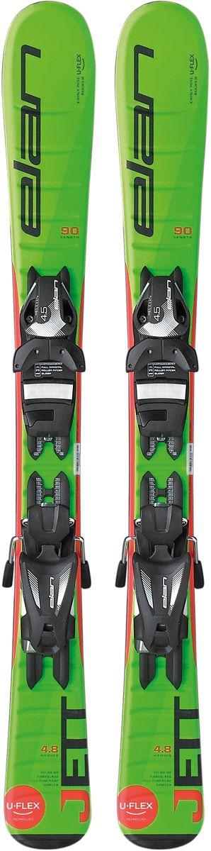 """Лыжи горные детские Elan """"Jett QS"""", с креплениями, цвет: зеленый, рост 90 см"""