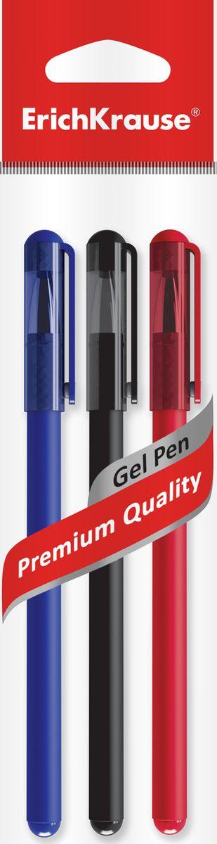 Ручка гелевая ErichKrause G-Soft, цвет чернил синий, черный, красный, 3 шт ручка гелевая erichkrause g soft цвет чернил синий черный красный 3 шт