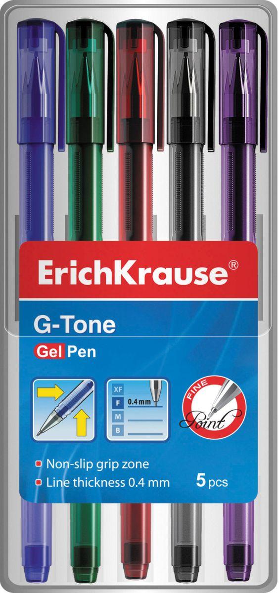 Ручка гелевая ErichKrause G-Tone, цвет чернил синий, черный, красный, зеленый, фиолетовый, 5 шт набор ручек гелевых uni цвет чернил красный 12 шт