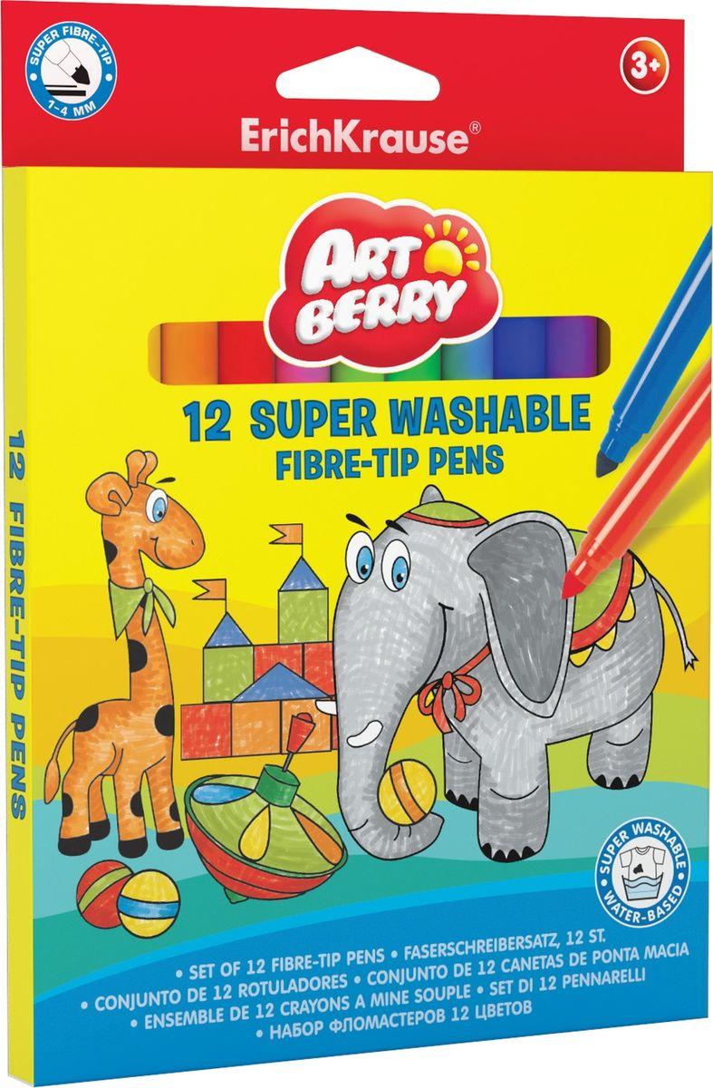 Фломастеры ArtBerry Super Tip Super Washable, 12 цветов фломастеры двухсторонние со штампами erichkrause artberry® jumbo super washable 8 цветов