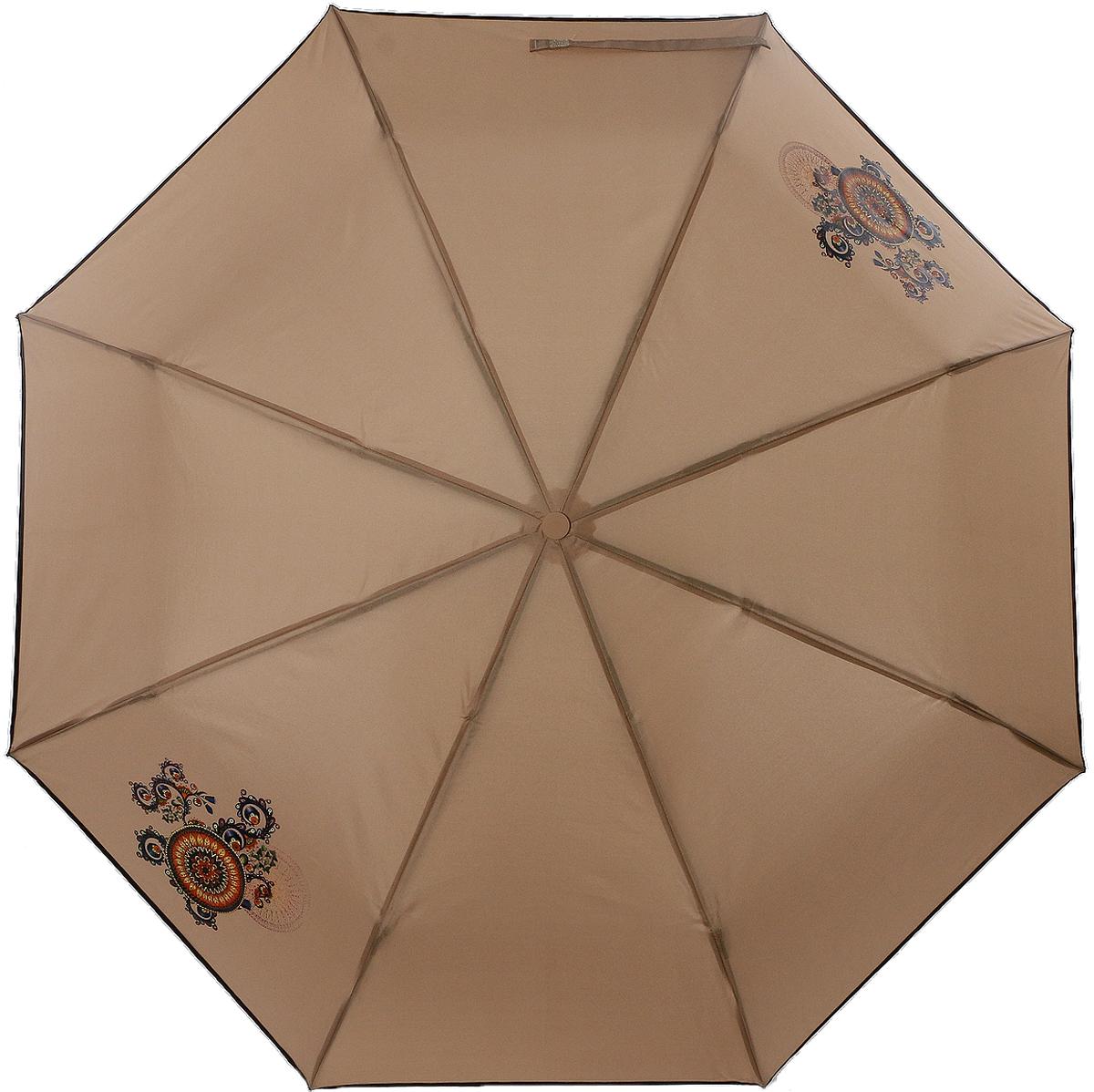 Зонт женский ArtRain, механический, 3 сложения, цвет: коричневый. 3511-1706 зонт artrain механический 3 сложения цвет синий 3517 1732
