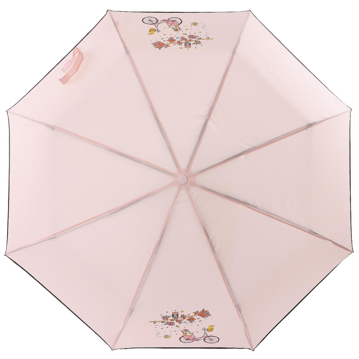 Зонт женский ArtRain, механический, 3 сложения, цвет: розовый. 3512-1727 зонт artrain механический 3 сложения цвет синий 3517 1732