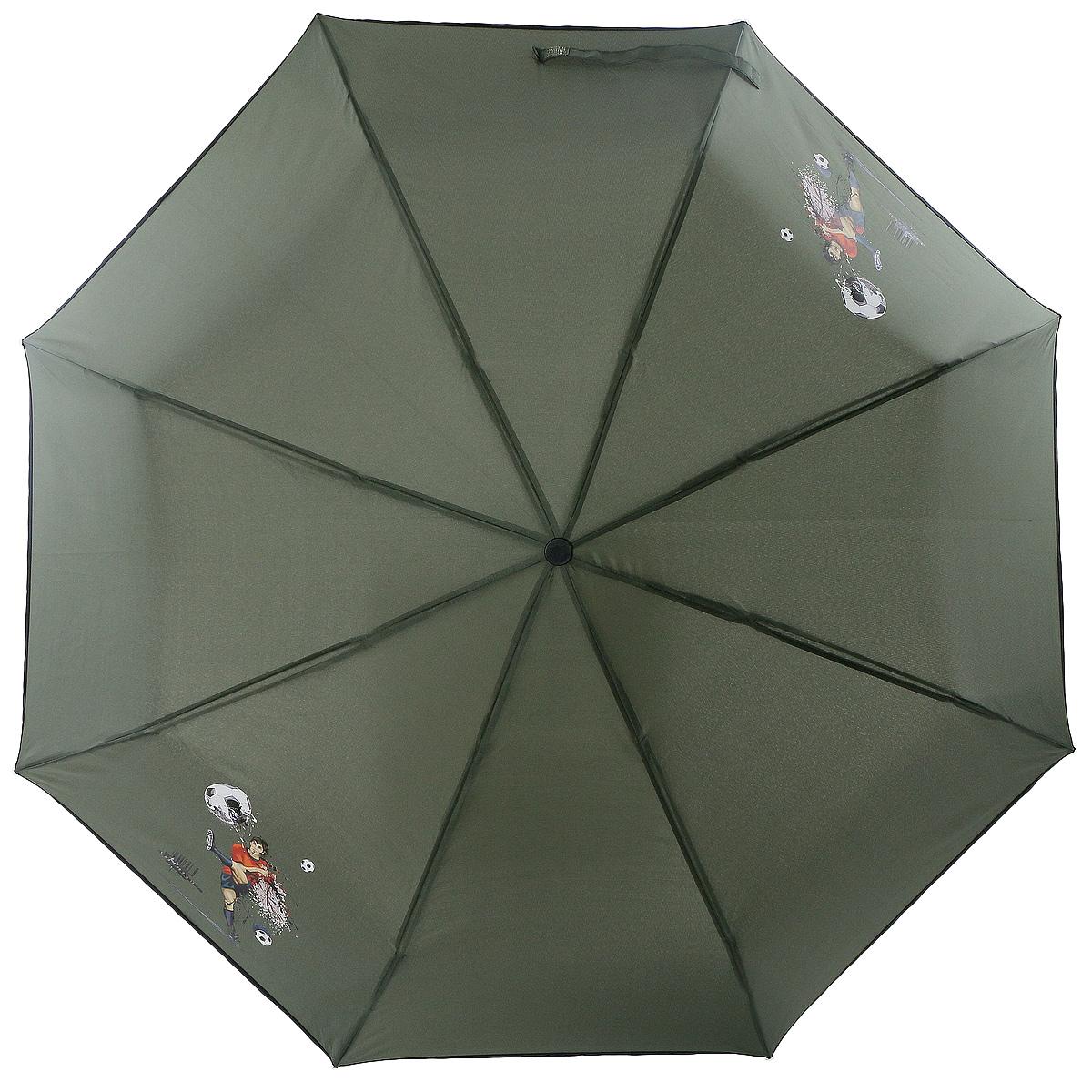Зонт ArtRain, механический, 3 сложения, цвет: зеленый. 3517-1731 цена и фото