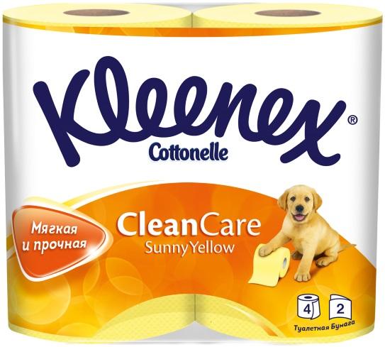 Туалетная бумага Kleenex Sunny Yellow, двухслойная, цвет: желтый, 4 рулона туалетная бумага biocos двухслойная цвет белый 4 рулона