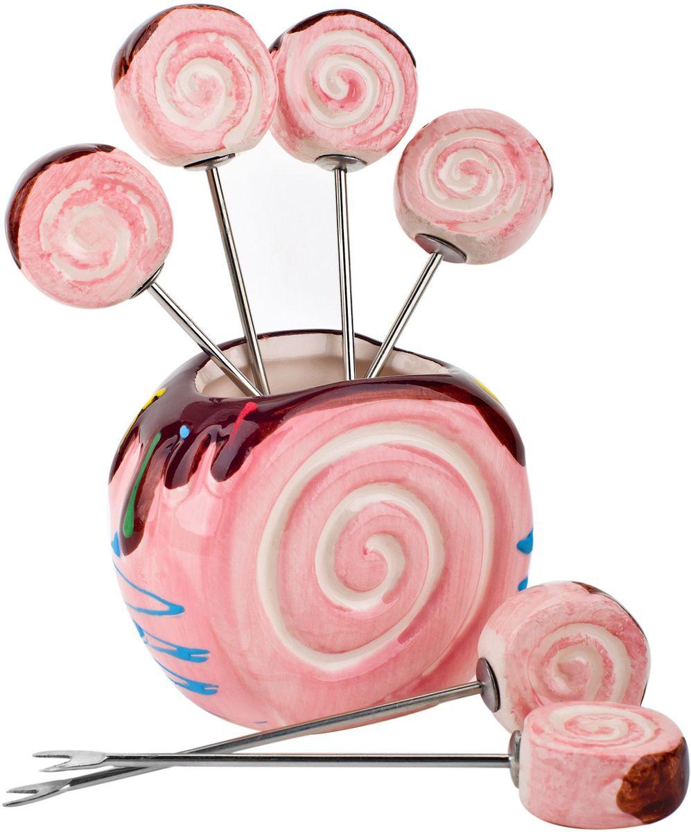 Подставка для канапе Elff Decor Бисквит, цвет: розовый, 7 х 4 х 10 см контейнер пищевой elff decor цвет зеленый 800 мл