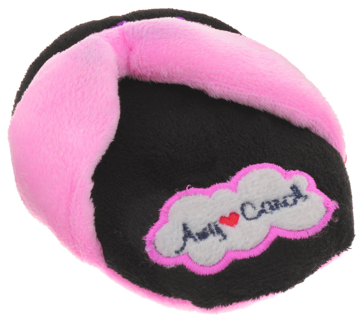 Игрушка для животных Camon Тапочки, с пищалкой, цвет: розовый, черный, 12 х 10 х 3 см игрушка для собак camon рыбка с пищалкой цвет белый красный 10 х 6 х 6 3 см