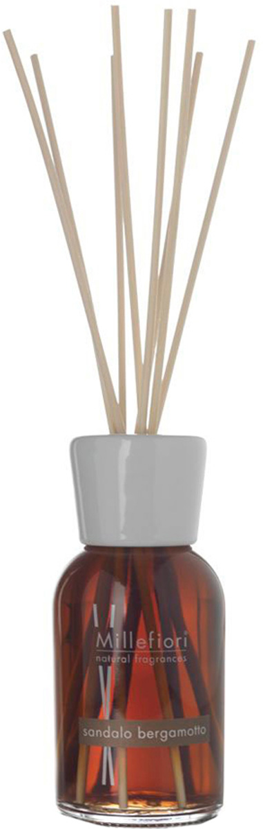 Диффузор ароматический Millefiori Milano Natural, сандал и бергамот, с палочками, 100 мл ароматизатор millefiori milano natural цветы магнолии и дерево 150 мл