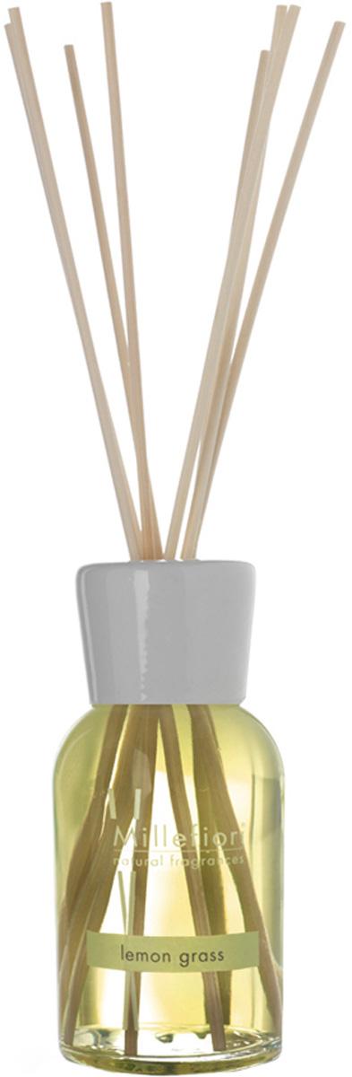 Диффузор ароматический Millefiori Milano Natural, лемонграсс, с палочками, 100 мл духи спрей для дома millefiori milano natural лес и полевые цветы legni e fiori d arancio 150 мл