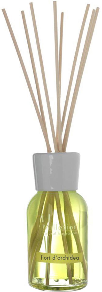 Диффузор ароматический Millefiori Milano Natural, цветы орхидеи, с палочками, 100 мл духи спрей для дома millefiori milano natural лес и полевые цветы legni e fiori d arancio 150 мл