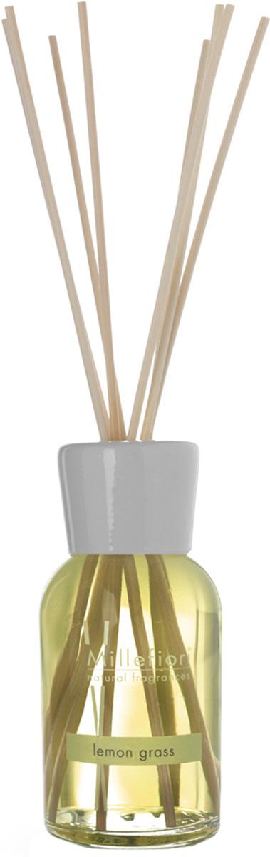 Диффузор ароматический Millefiori Milano Natural, лемонграсс, с палочками, 250 мл ароматизатор millefiori milano natural цветы магнолии и дерево 150 мл