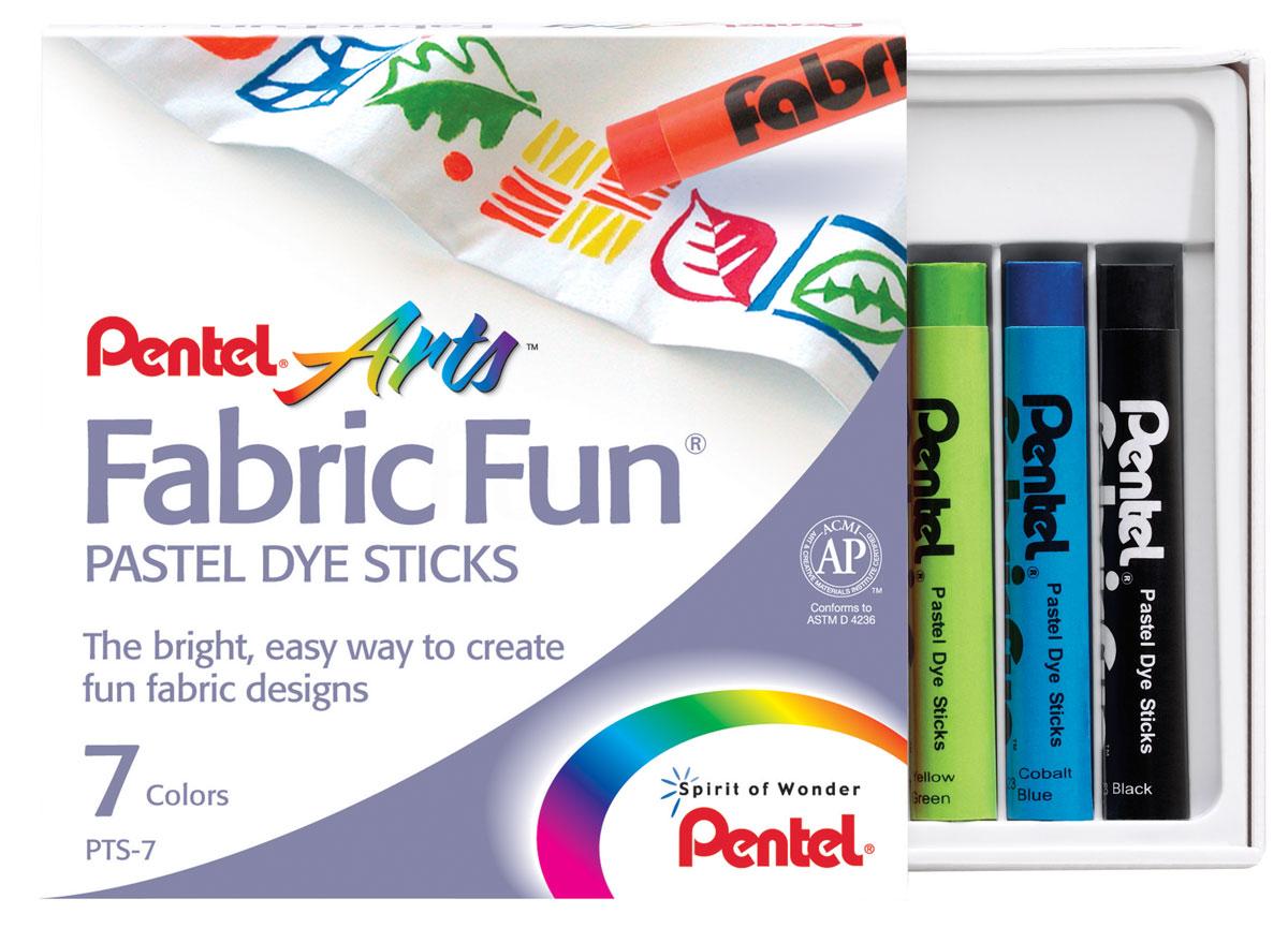 Pentel Краска для ткани FabricFun Pastels 7 цветовPTS-7Пастельные мелки для рисования на любых натуральных тканях. В картонной упаковке размещено 7 мелков. Будь то футболка, юбка, пляжная сумка, фартук или даже кеды, с помощью пастели Fabric Fun вы придадите вещи новое дыхание. Для создания сложных оттенков можно пальцами или мягкой тканью смешивать нанесенные цвета. Чтобы ваше законченное творение выдержало воздействие воды (дождь, влажную погоду или многократные стирки), нужно закрепить рисунок горячим утюгом. Для этого положите сверху рисунка лист белой бумаги и прижмите его несколько раз горячим утюгом. Температуру утюга подбирайте исходя из состава ткани. Если Вы допустили ошибку или рисунок не удался то, до его термозакрепления быстро постирайте ткань и начинайте рисовать снова! Пастель Fabric Fun изготовлена из натуральных компонентов и не содержит вредных примесей. Соответствует европейскому стандарту качества EN71, утвержденному для детских товаров. Рекомендуем!