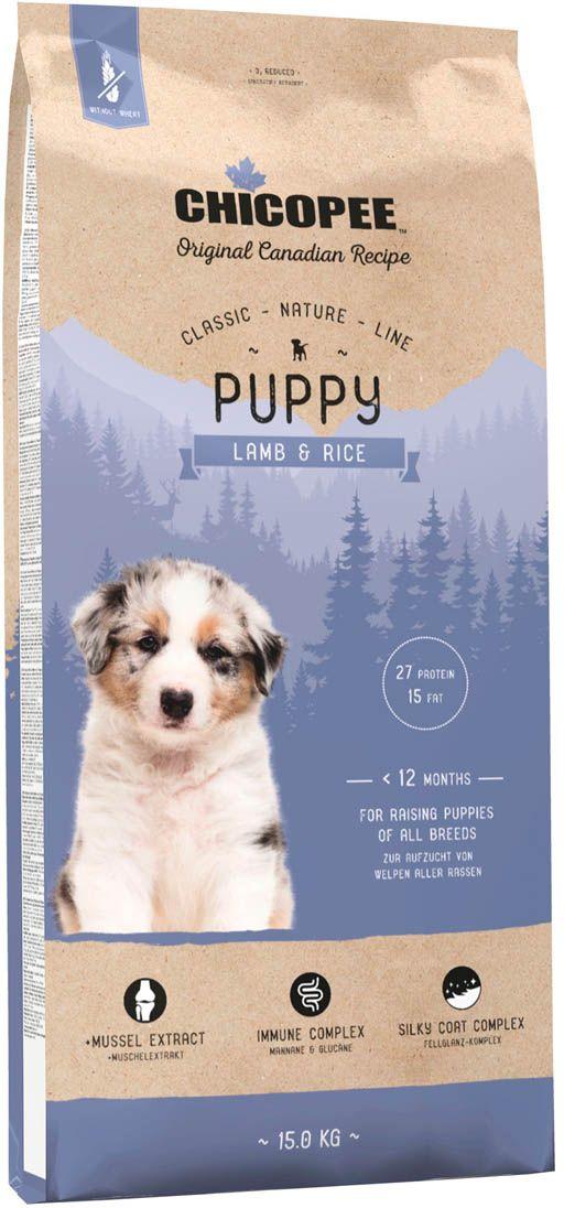 Корм сухой Chicopee CNL Puppy Lamb & Rice, для щенков всех пород, с ягненком и рисом, 15 кг chicopee chicopee hnl puppy lamb