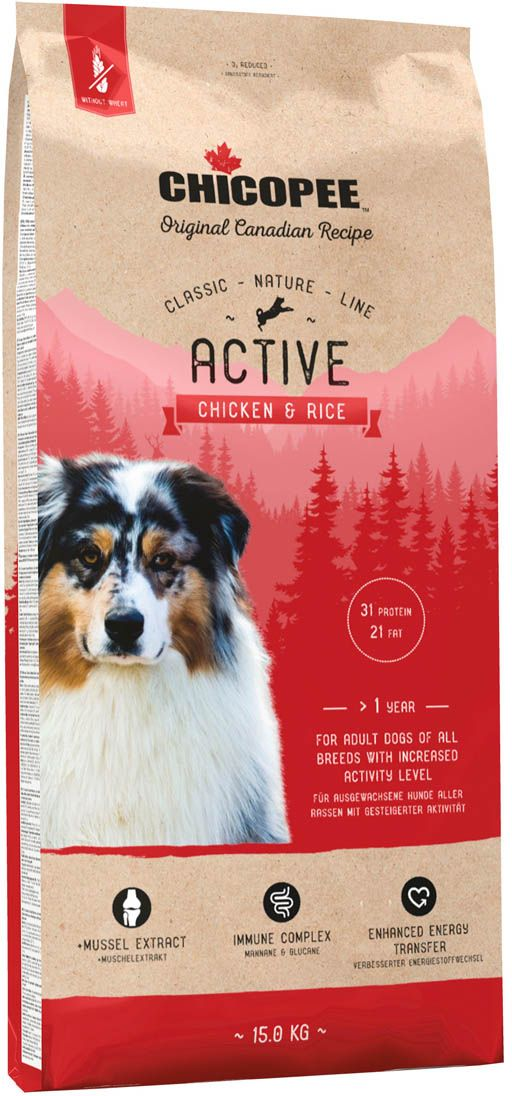 """Корм сухой Chicopee """"CNL Active Chicken & Rice"""", для активных собак всех пород, с курицей и рисом, 15 кг"""