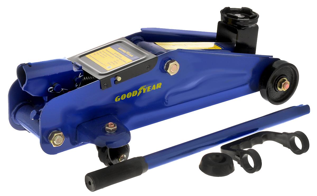 Гидравлический подкатной домкрат Goodyear GY-PD-01K 1,8Т, с резиновой проставкой порога, 320 мм, в кейсе