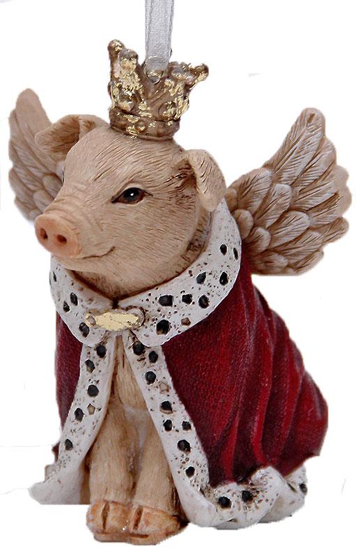 Украшение новогоднее подвесное Феникс-Презент Свинка-королева, 7,5 х 5,5 х 7,5 см феникс презент украшение новогоднее подвесное сова пират из полирезины