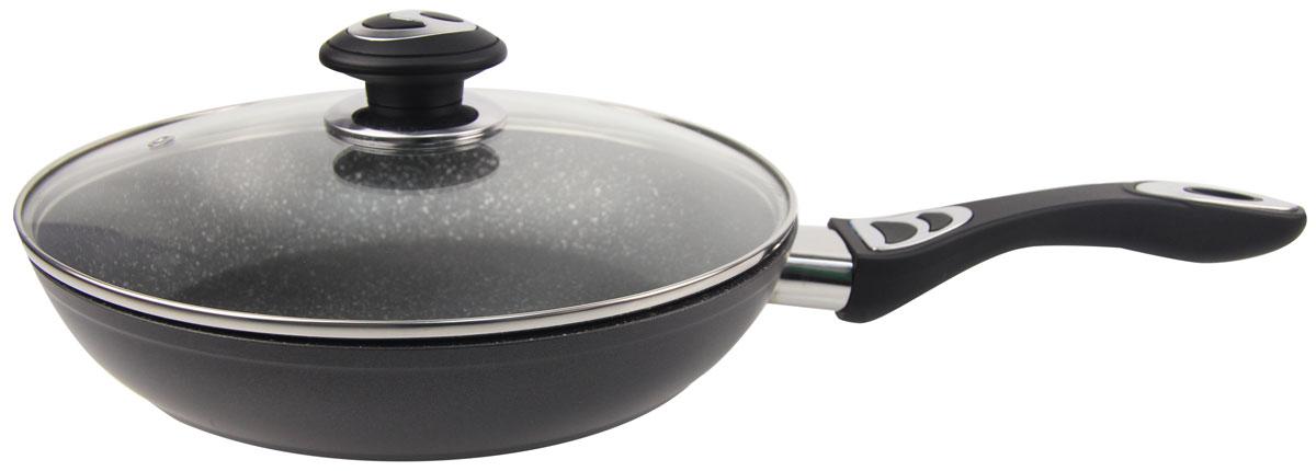 """Сковорода """"Rainstahl"""", с мраморным покрытием, с крышкой, цвет: черный. Диаметр 26 см. 9512-26RS\FP"""